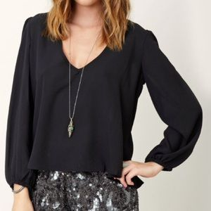 Lovers + Friends Daydream Plunging Black Blouse